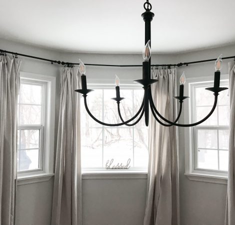 Dining Room - Black Chandelier and Drop Cloth Curtains